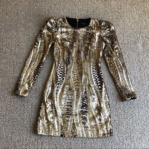Marciano gold sequin embellished Lise Dress XS